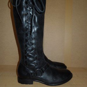 Born Black Leather Lace Tall Boots 8.5